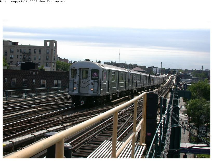 (126k, 820x620)<br><b>Country:</b> United States<br><b>City:</b> New York<br><b>System:</b> New York City Transit<br><b>Line:</b> IRT Flushing Line<br><b>Location:</b> 69th Street/Fisk Avenue <br><b>Route:</b> 7<br><b>Car:</b> R-62A (Bombardier, 1984-1987)  1690 <br><b>Photo by:</b> Joe Testagrose<br><b>Date:</b> 6/4/2002<br><b>Viewed (this week/total):</b> 4 / 2902