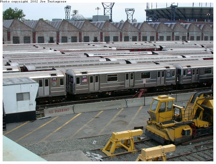 (147k, 820x620)<br><b>Country:</b> United States<br><b>City:</b> New York<br><b>System:</b> New York City Transit<br><b>Location:</b> Corona Yard<br><b>Car:</b> R-62A (Bombardier, 1984-1987)  1695 <br><b>Photo by:</b> Joe Testagrose<br><b>Date:</b> 6/4/2002<br><b>Viewed (this week/total):</b> 0 / 3060