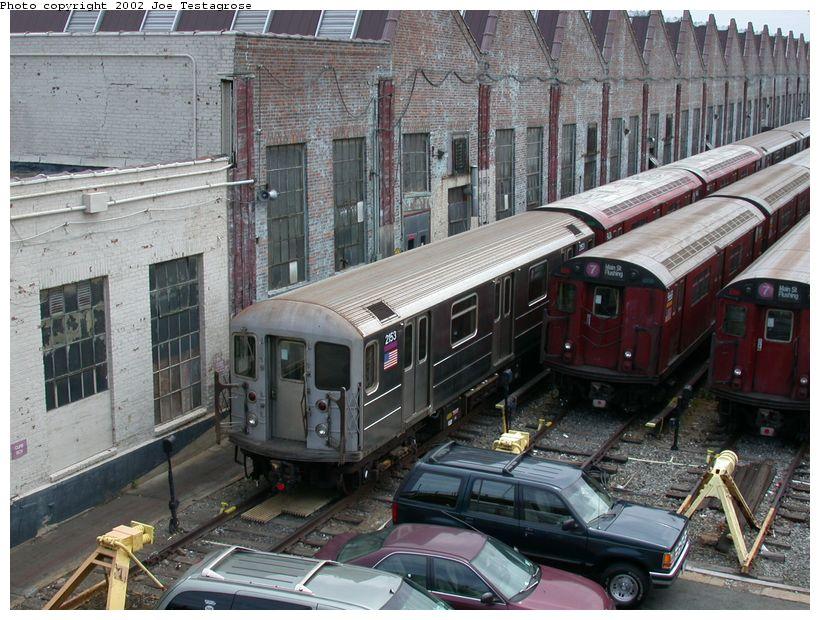 (151k, 820x620)<br><b>Country:</b> United States<br><b>City:</b> New York<br><b>System:</b> New York City Transit<br><b>Location:</b> Corona Yard<br><b>Car:</b> R-62A (Bombardier, 1984-1987)  2153 <br><b>Photo by:</b> Joe Testagrose<br><b>Date:</b> 6/4/2002<br><b>Viewed (this week/total):</b> 1 / 3734