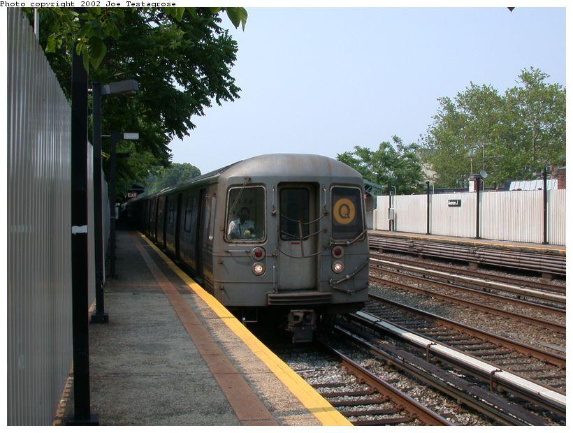 (132k, 820x620)<br><b>Country:</b> United States<br><b>City:</b> New York<br><b>System:</b> New York City Transit<br><b>Line:</b> BMT Brighton Line<br><b>Location:</b> Avenue J <br><b>Route:</b> Q<br><b>Car:</b> R-68 (Westinghouse-Amrail, 1986-1988)  2878 <br><b>Photo by:</b> Joe Testagrose<br><b>Date:</b> 6/11/2002<br><b>Viewed (this week/total):</b> 2 / 3308