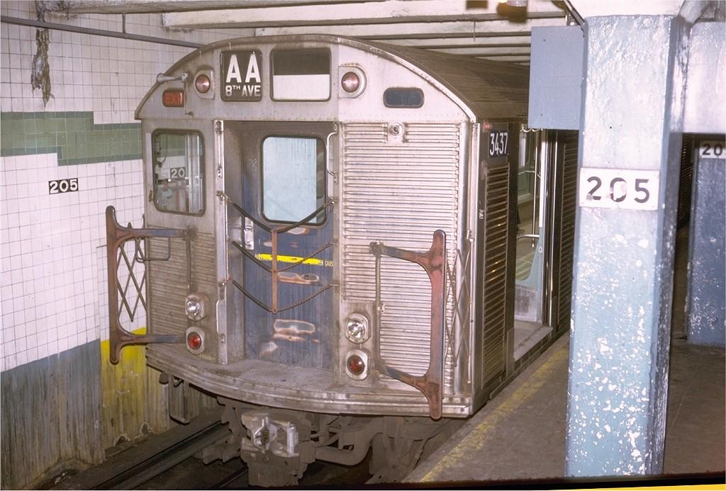 (211k, 1024x693)<br><b>Country:</b> United States<br><b>City:</b> New York<br><b>System:</b> New York City Transit<br><b>Line:</b> IND Concourse Line<br><b>Location:</b> 205th Street <br><b>Car:</b> R-32 (Budd, 1964)  3437 <br><b>Photo by:</b> Steve Zabel<br><b>Collection of:</b> Joe Testagrose<br><b>Date:</b> 5/13/1973<br><b>Viewed (this week/total):</b> 2 / 4496