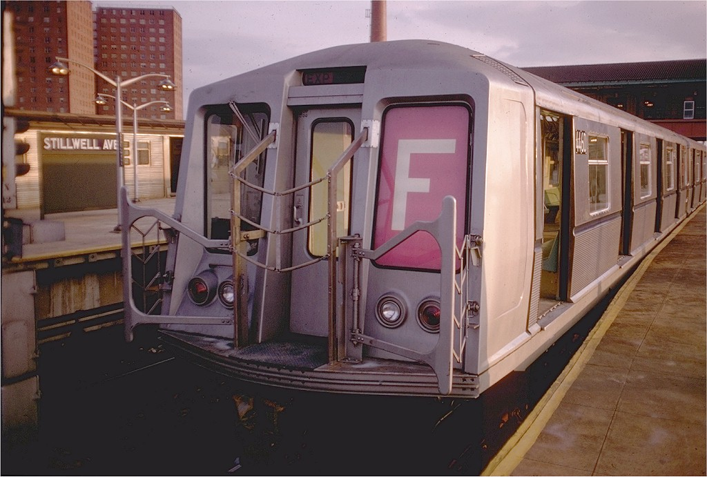 (179k, 1024x691)<br><b>Country:</b> United States<br><b>City:</b> New York<br><b>System:</b> New York City Transit<br><b>Location:</b> Coney Island/Stillwell Avenue<br><b>Route:</b> F<br><b>Car:</b> R-40 (St. Louis, 1968)  4460 <br><b>Photo by:</b> Doug Grotjahn<br><b>Collection of:</b> Joe Testagrose<br><b>Date:</b> 12/21/1968<br><b>Viewed (this week/total):</b> 5 / 5417