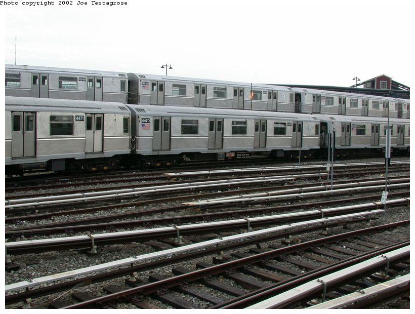 (131k, 820x620)<br><b>Country:</b> United States<br><b>City:</b> New York<br><b>System:</b> New York City Transit<br><b>Location:</b> East New York Yard/Shops<br><b>Car:</b> R-40M (St. Louis, 1969)  4470 <br><b>Photo by:</b> Joe Testagrose<br><b>Date:</b> 5/27/2002<br><b>Viewed (this week/total):</b> 0 / 4456