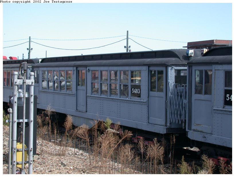 (126k, 820x620)<br><b>Country:</b> United States<br><b>City:</b> New York<br><b>System:</b> New York City Transit<br><b>Location:</b> Coney Island Yard-Museum Yard<br><b>Car:</b> Low-V (Museum Train) 5483 <br><b>Photo by:</b> Joe Testagrose<br><b>Date:</b> 9/22/2002<br><b>Viewed (this week/total):</b> 1 / 2709