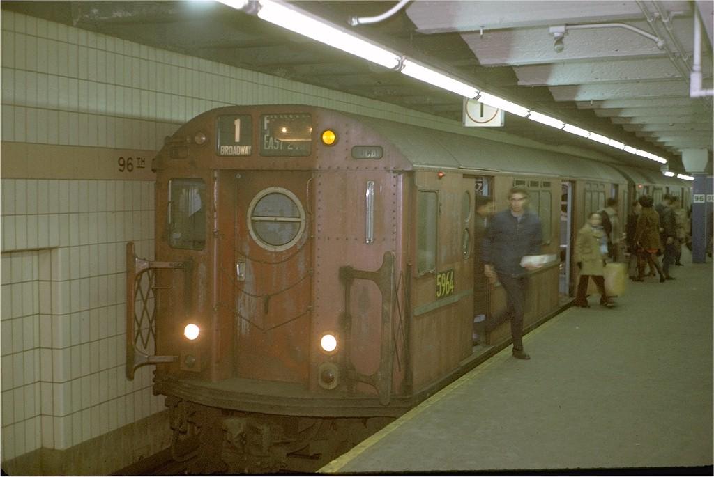 (158k, 1024x685)<br><b>Country:</b> United States<br><b>City:</b> New York<br><b>System:</b> New York City Transit<br><b>Line:</b> IRT West Side Line<br><b>Location:</b> 96th Street <br><b>Route:</b> 1<br><b>Car:</b> R-15 (American Car & Foundry, 1950) 5964 <br><b>Photo by:</b> Steve Zabel<br><b>Collection of:</b> Joe Testagrose<br><b>Date:</b> 1/3/1971<br><b>Viewed (this week/total):</b> 0 / 3947