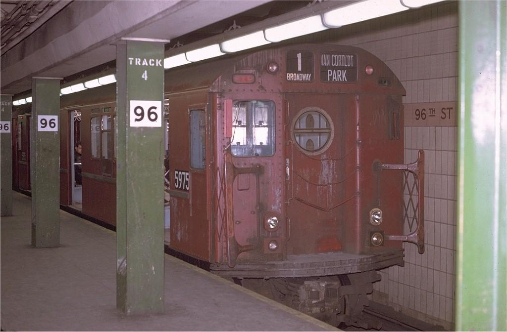 (153k, 1024x672)<br><b>Country:</b> United States<br><b>City:</b> New York<br><b>System:</b> New York City Transit<br><b>Line:</b> IRT West Side Line<br><b>Location:</b> 96th Street<br><b>Car:</b> R-15 (American Car & Foundry, 1950) 5975 <br><b>Photo by:</b> Joe Testagrose<br><b>Date:</b> 4/22/1970<br><b>Viewed (this week/total):</b> 2 / 3393