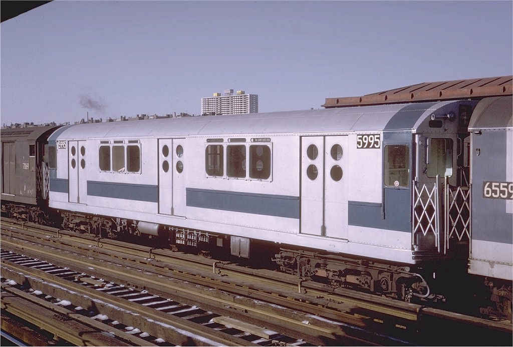 (190k, 1024x693)<br><b>Country:</b> United States<br><b>City:</b> New York<br><b>System:</b> New York City Transit<br><b>Line:</b> IRT Woodlawn Line<br><b>Location:</b> 170th Street <br><b>Route:</b> 4<br><b>Car:</b> R-15 (American Car & Foundry, 1950) 5995 <br><b>Photo by:</b> Steve Zabel<br><b>Collection of:</b> Joe Testagrose<br><b>Date:</b> 1/16/1971<br><b>Viewed (this week/total):</b> 1 / 2688