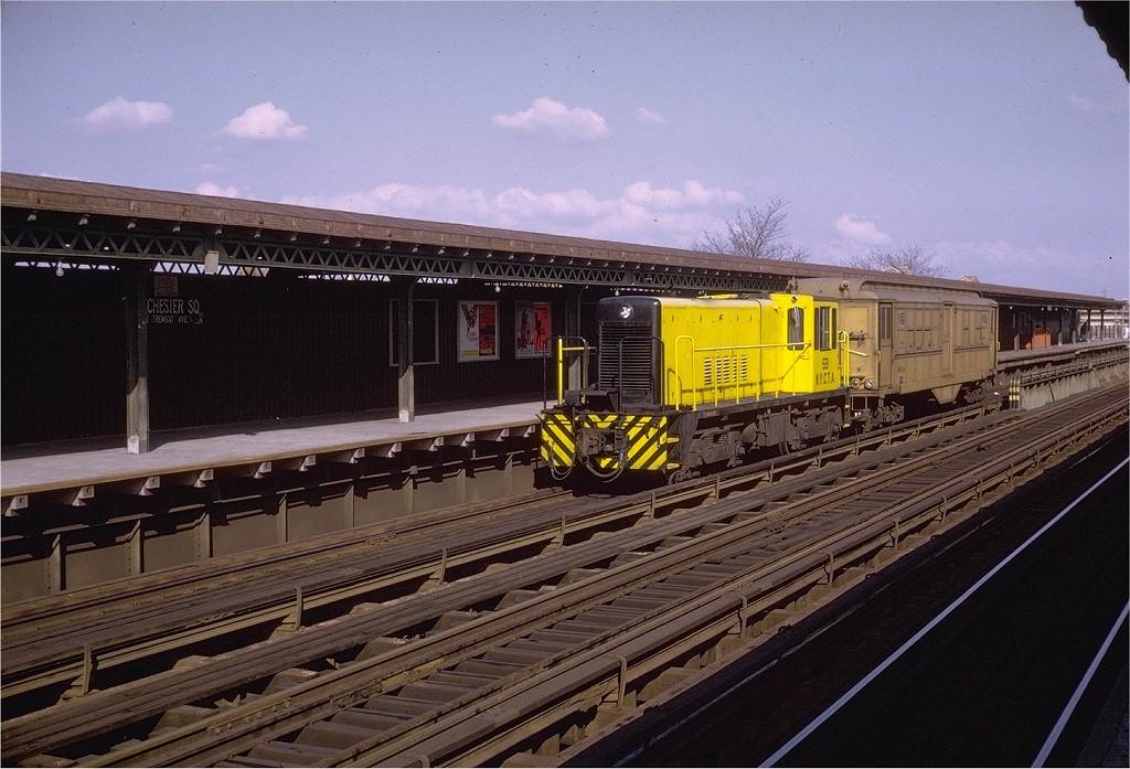 (217k, 1024x697)<br><b>Country:</b> United States<br><b>City:</b> New York<br><b>System:</b> New York City Transit<br><b>Line:</b> IRT Pelham Line<br><b>Location:</b> Westchester Square <br><b>Car:</b> R-41 Locomotive  59 <br><b>Photo by:</b> Doug Grotjahn<br><b>Collection of:</b> Joe Testagrose<br><b>Date:</b> 11/8/1969<br><b>Viewed (this week/total):</b> 0 / 3974