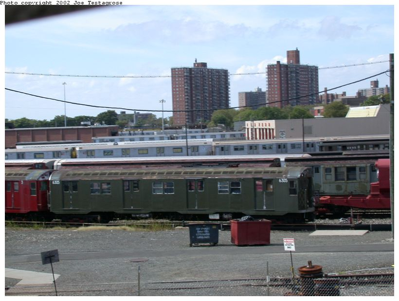 (116k, 820x620)<br><b>Country:</b> United States<br><b>City:</b> New York<br><b>System:</b> New York City Transit<br><b>Location:</b> Coney Island Yard-Museum Yard<br><b>Car:</b> R-16 (American Car & Foundry, 1955) 6305 <br><b>Photo by:</b> Joe Testagrose<br><b>Date:</b> 9/22/2002<br><b>Viewed (this week/total):</b> 0 / 3922