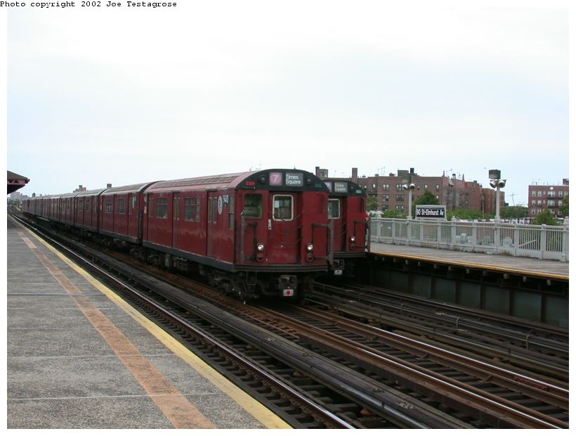 (106k, 820x620)<br><b>Country:</b> United States<br><b>City:</b> New York<br><b>System:</b> New York City Transit<br><b>Line:</b> IRT Flushing Line<br><b>Location:</b> 90th Street/Elmhurst Avenue <br><b>Route:</b> 7<br><b>Car:</b> R-36 World's Fair (St. Louis, 1963-64) 9410 <br><b>Photo by:</b> Joe Testagrose<br><b>Date:</b> 6/4/2002<br><b>Viewed (this week/total):</b> 1 / 3571
