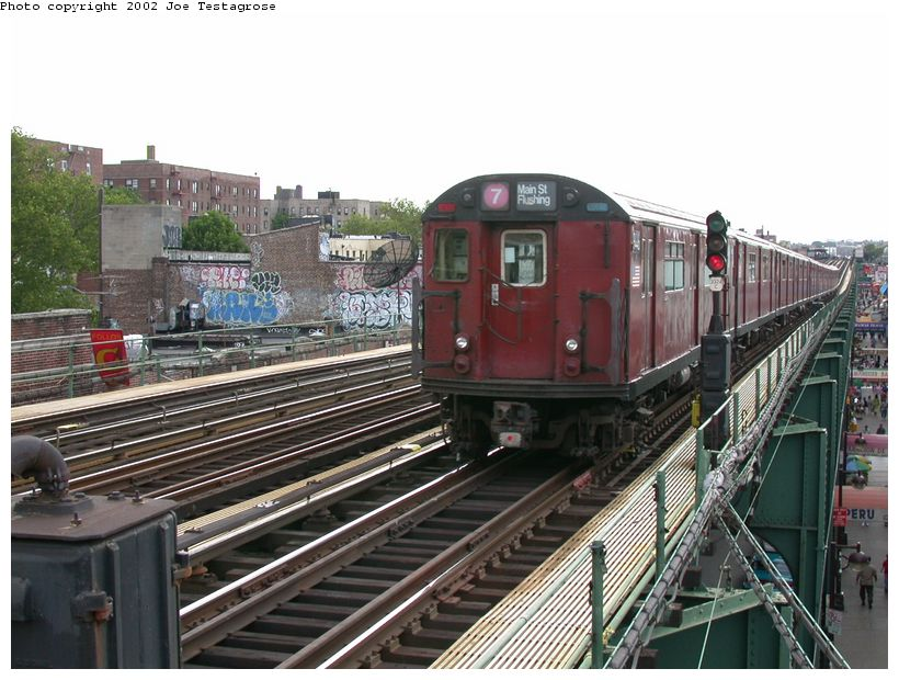 (135k, 820x620)<br><b>Country:</b> United States<br><b>City:</b> New York<br><b>System:</b> New York City Transit<br><b>Line:</b> IRT Flushing Line<br><b>Location:</b> 82nd Street/Jackson Heights <br><b>Route:</b> 7<br><b>Car:</b> R-36 World's Fair (St. Louis, 1963-64) 9446 <br><b>Photo by:</b> Joe Testagrose<br><b>Date:</b> 6/4/2002<br><b>Viewed (this week/total):</b> 1 / 3551