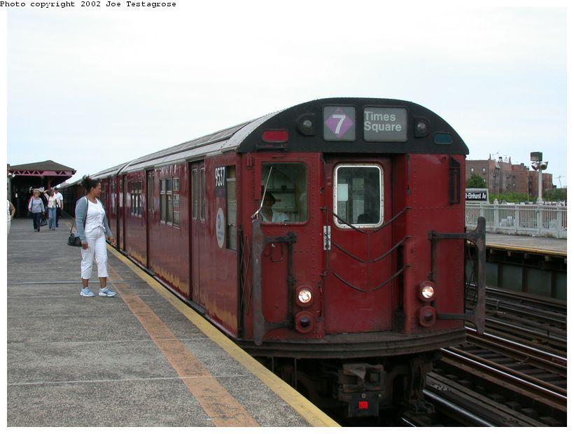(108k, 820x620)<br><b>Country:</b> United States<br><b>City:</b> New York<br><b>System:</b> New York City Transit<br><b>Line:</b> IRT Flushing Line<br><b>Location:</b> 90th Street/Elmhurst Avenue <br><b>Route:</b> 7<br><b>Car:</b> R-36 Main Line (St. Louis, 1964) 9537 <br><b>Photo by:</b> Joe Testagrose<br><b>Date:</b> 6/4/2002<br><b>Viewed (this week/total):</b> 2 / 3926
