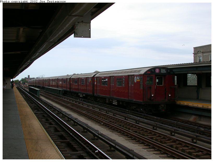 (102k, 820x620)<br><b>Country:</b> United States<br><b>City:</b> New York<br><b>System:</b> New York City Transit<br><b>Line:</b> IRT Flushing Line<br><b>Location:</b> 40th Street/Lowery Street <br><b>Route:</b> 7<br><b>Car:</b> R-36 World's Fair (St. Louis, 1963-64) 9612 <br><b>Photo by:</b> Joe Testagrose<br><b>Date:</b> 6/4/2002<br><b>Viewed (this week/total):</b> 0 / 3037