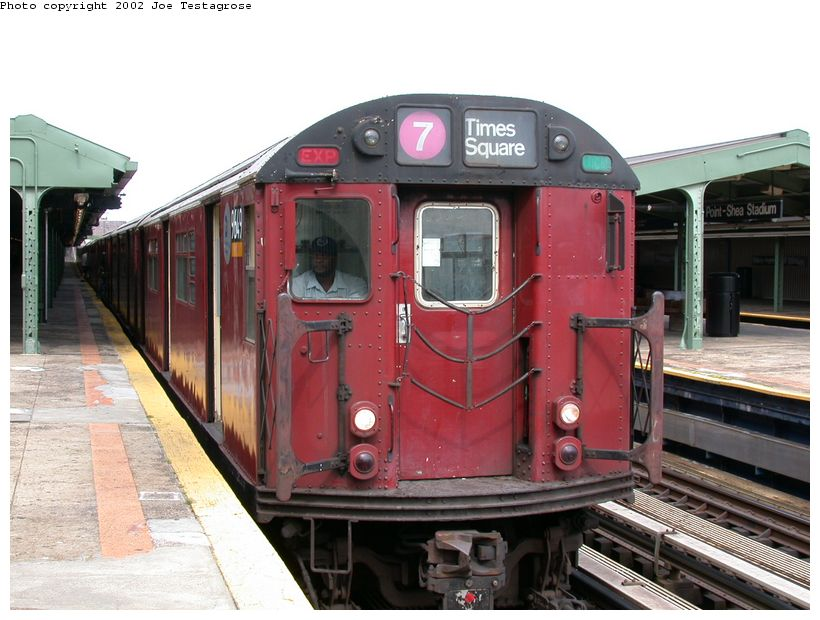 (121k, 820x620)<br><b>Country:</b> United States<br><b>City:</b> New York<br><b>System:</b> New York City Transit<br><b>Line:</b> IRT Flushing Line<br><b>Location:</b> Willets Point/Mets (fmr. Shea Stadium) <br><b>Route:</b> 7<br><b>Car:</b> R-36 World's Fair (St. Louis, 1963-64) 9649 <br><b>Photo by:</b> Joe Testagrose<br><b>Date:</b> 6/4/2002<br><b>Viewed (this week/total):</b> 0 / 2515