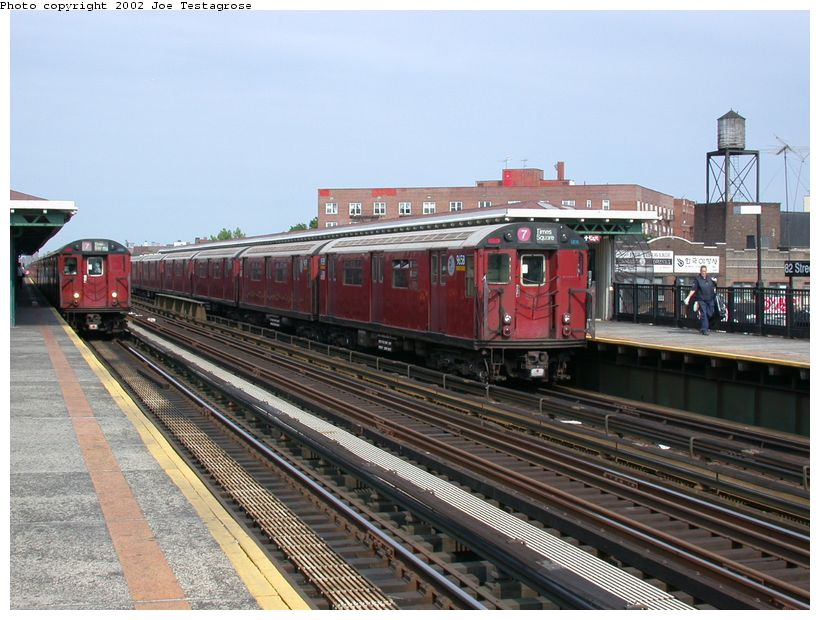 (132k, 820x620)<br><b>Country:</b> United States<br><b>City:</b> New York<br><b>System:</b> New York City Transit<br><b>Line:</b> IRT Flushing Line<br><b>Location:</b> 82nd Street/Jackson Heights <br><b>Route:</b> 7<br><b>Car:</b> R-36 World's Fair (St. Louis, 1963-64) 9658 <br><b>Photo by:</b> Joe Testagrose<br><b>Date:</b> 6/4/2002<br><b>Viewed (this week/total):</b> 0 / 4521