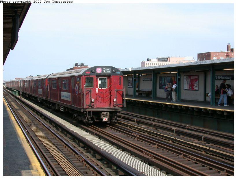 (121k, 820x620)<br><b>Country:</b> United States<br><b>City:</b> New York<br><b>System:</b> New York City Transit<br><b>Line:</b> IRT Flushing Line<br><b>Location:</b> 74th Street/Broadway <br><b>Route:</b> 7<br><b>Car:</b> R-36 World's Fair (St. Louis, 1963-64) 9712 <br><b>Photo by:</b> Joe Testagrose<br><b>Date:</b> 6/4/2002<br><b>Viewed (this week/total):</b> 1 / 4085