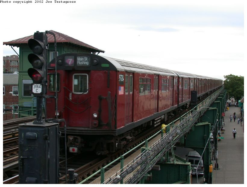 (109k, 820x620)<br><b>Country:</b> United States<br><b>City:</b> New York<br><b>System:</b> New York City Transit<br><b>Line:</b> IRT Flushing Line<br><b>Location:</b> 103rd Street/Corona Plaza <br><b>Route:</b> 7<br><b>Car:</b> R-36 World's Fair (St. Louis, 1963-64) 9724 <br><b>Photo by:</b> Joe Testagrose<br><b>Date:</b> 6/4/2002<br><b>Viewed (this week/total):</b> 0 / 4145