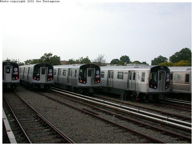 (111k, 820x620)<br><b>Country:</b> United States<br><b>City:</b> New York<br><b>System:</b> New York City Transit<br><b>Location:</b> East New York Yard/Shops<br><b>Car:</b> R-143 (Kawasaki, 2001-2002) 8121 <br><b>Photo by:</b> Joe Testagrose<br><b>Date:</b> 5/27/2002<br><b>Viewed (this week/total):</b> 0 / 5445