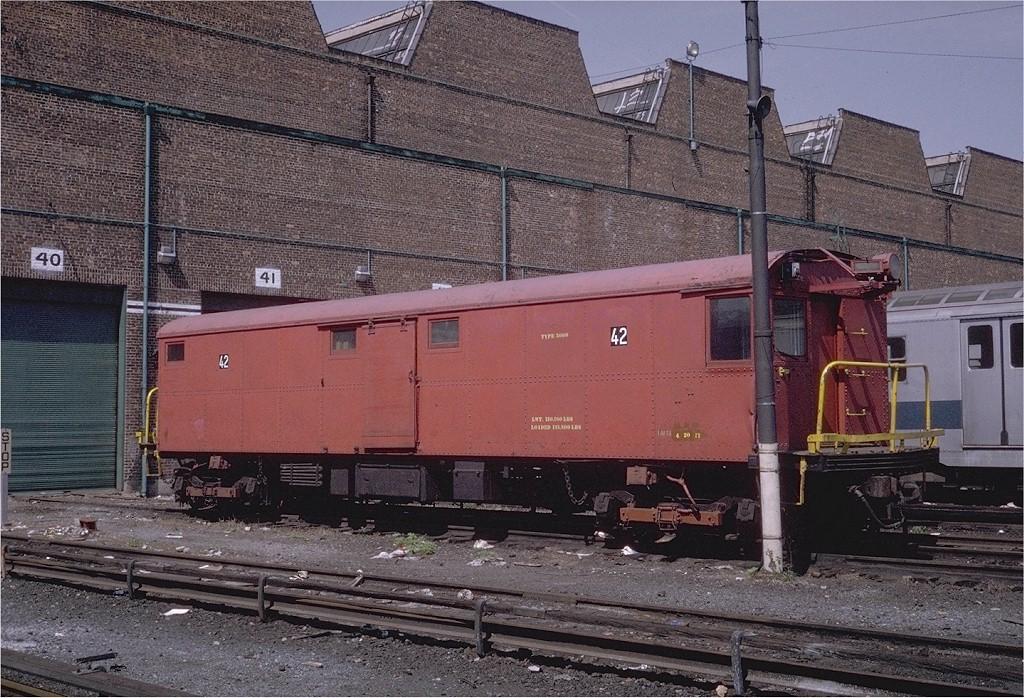 (268k, 1024x698)<br><b>Country:</b> United States<br><b>City:</b> New York<br><b>System:</b> New York City Transit<br><b>Location:</b> Coney Island Yard<br><b>Car:</b> Tool Welding Car (ACF, 1918)  42 (ex-5000)<br><b>Photo by:</b> Steve Zabel<br><b>Collection of:</b> Joe Testagrose<br><b>Date:</b> 5/11/1971<br><b>Viewed (this week/total):</b> 2 / 4058