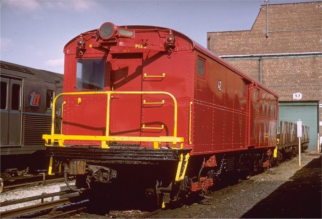 (242k, 1024x697)<br><b>Country:</b> United States<br><b>City:</b> New York<br><b>System:</b> New York City Transit<br><b>Location:</b> Coney Island Yard<br><b>Car:</b> Tool Welding Car (ACF, 1918)  42 (ex-5000)<br><b>Photo by:</b> Gerald H. Landau<br><b>Collection of:</b> Joe Testagrose<br><b>Date:</b> 3/3/1968<br><b>Viewed (this week/total):</b> 4 / 4233