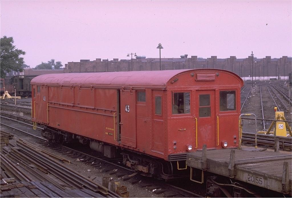 (183k, 1024x693)<br><b>Country:</b> United States<br><b>City:</b> New York<br><b>System:</b> New York City Transit<br><b>Location:</b> East New York Yard/Shops<br><b>Car:</b> Rubbish Collection Car (ACF, 1918)  43 <br><b>Photo by:</b> Joe Testagrose<br><b>Date:</b> 7/11/1969<br><b>Viewed (this week/total):</b> 6 / 5715