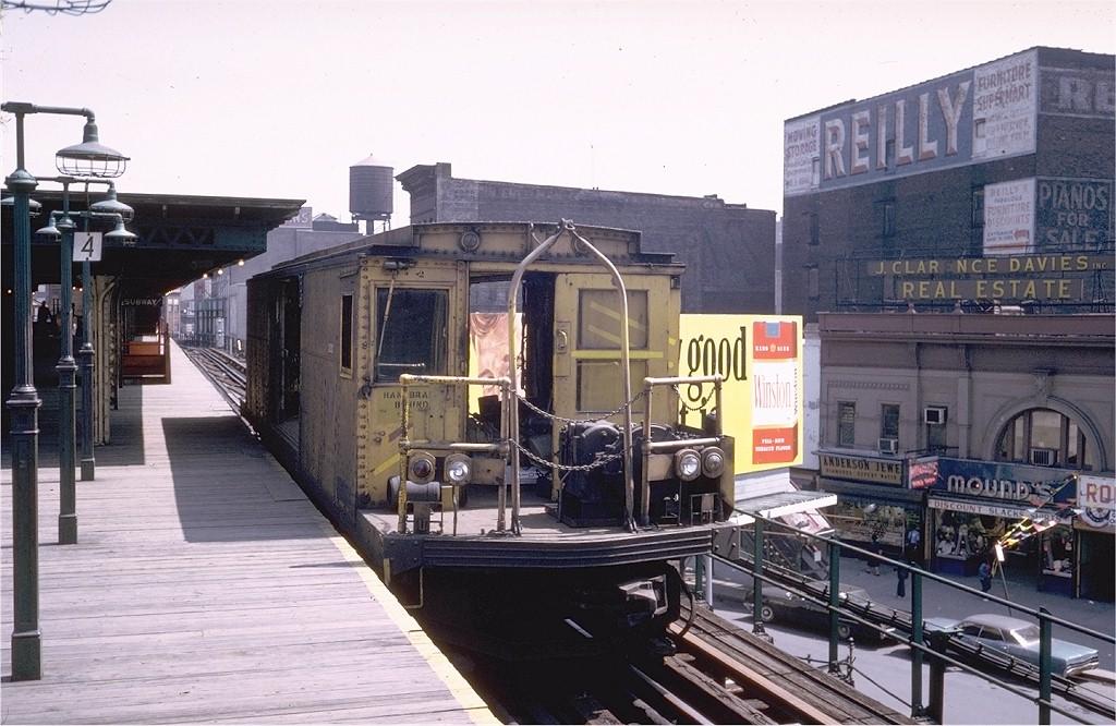 (202k, 1024x666)<br><b>Country:</b> United States<br><b>City:</b> New York<br><b>System:</b> New York City Transit<br><b>Line:</b> 3rd Avenue El<br><b>Location:</b> 149th Street <br><b>Car:</b> BMT Signal Supply Car (Diff. Car Co., 1927)  44 (ex-5003)<br><b>Photo by:</b> Steve Zabel<br><b>Collection of:</b> Joe Testagrose<br><b>Date:</b> 5/1/1973<br><b>Viewed (this week/total):</b> 0 / 7350