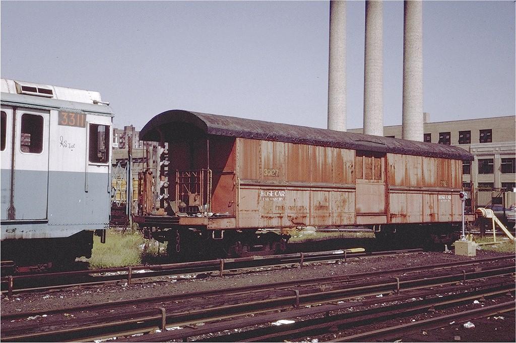 (270k, 1024x682)<br><b>Country:</b> United States<br><b>City:</b> New York<br><b>System:</b> New York City Transit<br><b>Location:</b> 207th Street Yard<br><b>Car:</b> IRT Supply Car (Pressed Steel, 1906)  30127 (ex-20127)<br><b>Photo by:</b> Steve Zabel<br><b>Collection of:</b> Joe Testagrose<br><b>Date:</b> 9/1971<br><b>Viewed (this week/total):</b> 6 / 3510