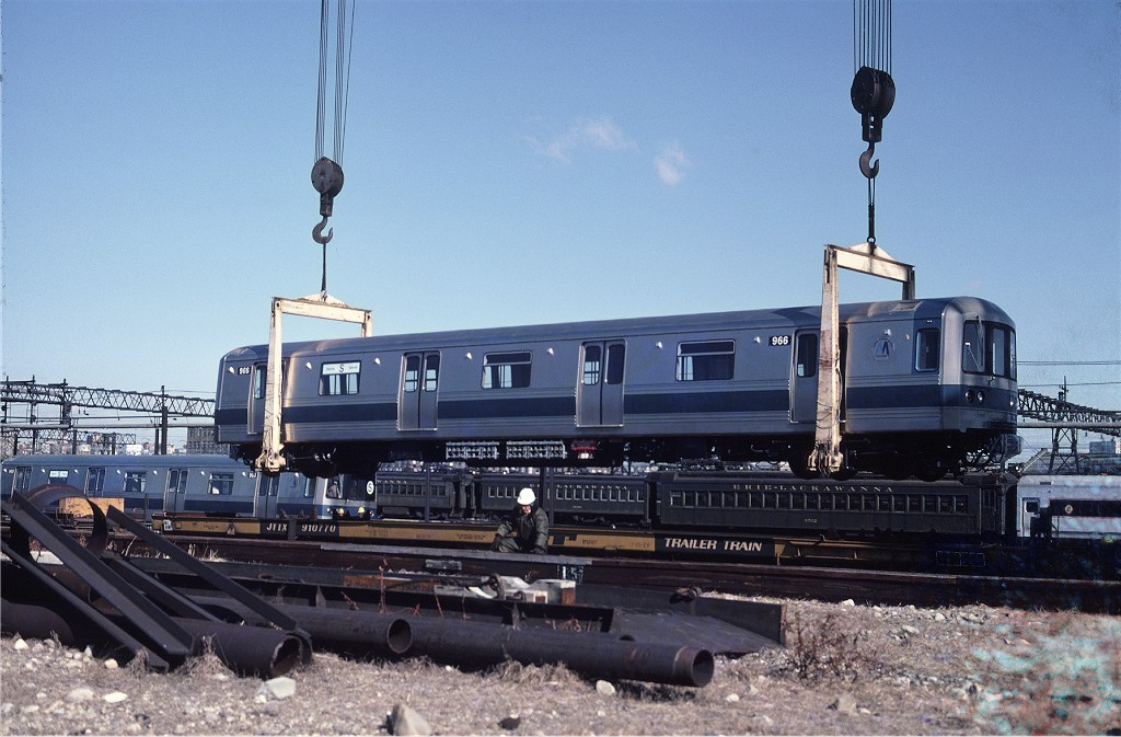 (189k, 1024x673)<br><b>Country:</b> United States<br><b>City:</b> Hoboken, NJ<br><b>System:</b> New York City Transit<br><b>Location:</b> Hoboken Yard <br><b>Car:</b> R-46 (Pullman-Standard, 1974-75) 966 <br><b>Photo by:</b> Ed McKernan<br><b>Collection of:</b> Joe Testagrose<br><b>Date:</b> 3/24/1977<br><b>Viewed (this week/total):</b> 0 / 659