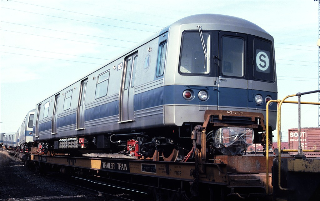 (161k, 1024x643)<br><b>Country:</b> United States<br><b>City:</b> Secaucus, NJ<br><b>System:</b> New York City Transit<br><b>Location:</b> Croxton Yard (NYCTA Equipment Delivery)<br><b>Car:</b> R-46 (Pullman-Standard, 1974-75) 982 <br><b>Photo by:</b> Ed McKernan<br><b>Collection of:</b> Joe Testagrose<br><b>Date:</b> 3/29/1977<br><b>Viewed (this week/total):</b> 3 / 550