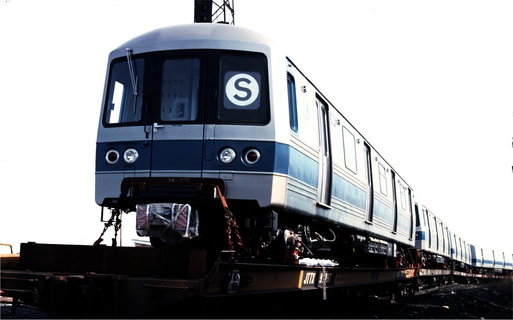 (104k, 1024x640)<br><b>Country:</b> United States<br><b>City:</b> Secaucus, NJ<br><b>System:</b> New York City Transit<br><b>Location:</b> Croxton Yard (NYCTA Equipment Delivery)<br><b>Car:</b> R-46 (Pullman-Standard, 1974-75) 986 <br><b>Photo by:</b> Ed McKernan<br><b>Collection of:</b> Joe Testagrose<br><b>Date:</b> 3/29/1977<br><b>Viewed (this week/total):</b> 0 / 486