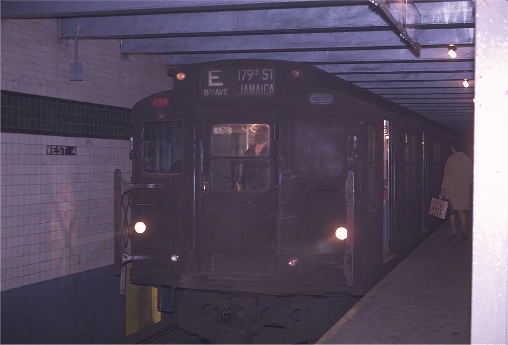 (136k, 1024x697)<br><b>Country:</b> United States<br><b>City:</b> New York<br><b>System:</b> New York City Transit<br><b>Line:</b> IND 8th Avenue Line<br><b>Location:</b> West 4th Street/Washington Square <br><b>Route:</b> E<br><b>Car:</b> R-6-3 (American Car & Foundry, 1935)  981 <br><b>Photo by:</b> Joe Testagrose<br><b>Date:</b> 4/24/1970<br><b>Viewed (this week/total):</b> 0 / 1135