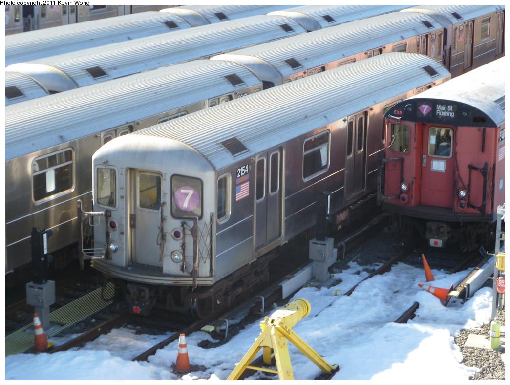 (262k, 1044x788)<br><b>Country:</b> United States<br><b>City:</b> New York<br><b>System:</b> New York City Transit<br><b>Location:</b> Corona Yard<br><b>Car:</b> R-62A (Bombardier, 1984-1987)  2154 <br><b>Photo by:</b> Kevin Wong<br><b>Date:</b> 2/14/2011<br><b>Viewed (this week/total):</b> 0 / 976