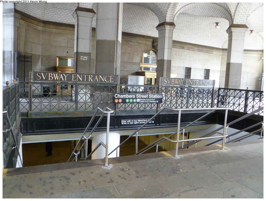 (295k, 1044x788)<br><b>Country:</b> United States<br><b>City:</b> New York<br><b>System:</b> New York City Transit<br><b>Line:</b> BMT Nassau Street/Jamaica Line<br><b>Location:</b> Chambers Street <br><b>Photo by:</b> Kevin Wong<br><b>Date:</b> 3/24/2011<br><b>Notes:</b> Station entrance.<br><b>Viewed (this week/total):</b> 1 / 3730