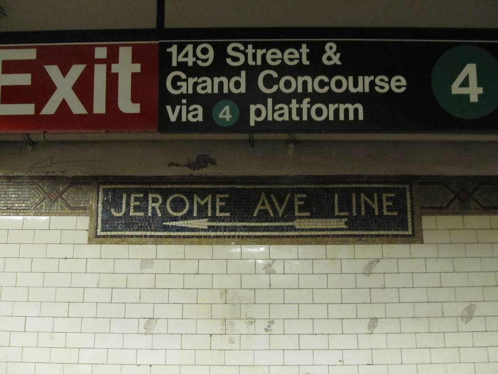 (82k, 1024x768)<br><b>Country:</b> United States<br><b>City:</b> New York<br><b>System:</b> New York City Transit<br><b>Line:</b> IRT White Plains Road Line<br><b>Location:</b> 149th Street/Grand Concourse (Mott Avenue) <br><b>Photo by:</b> Robbie Rosenfeld<br><b>Date:</b> 3/30/2011<br><b>Notes:</b> Jerome Ave line mosaic.<br><b>Viewed (this week/total):</b> 0 / 1173