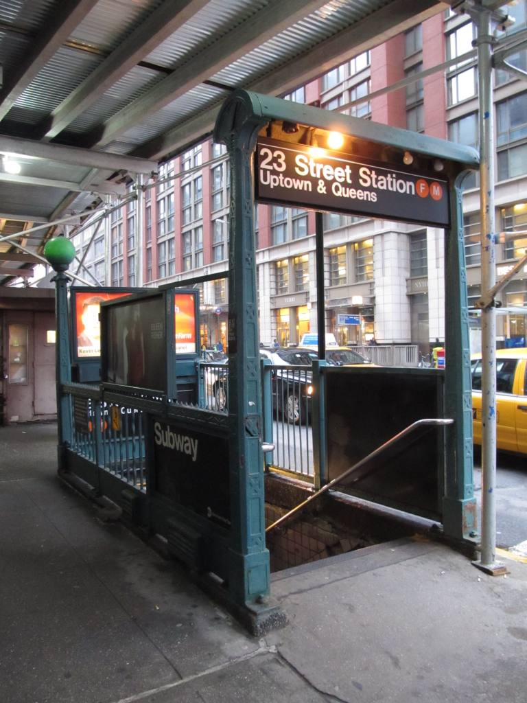 (122k, 768x1024)<br><b>Country:</b> United States<br><b>City:</b> New York<br><b>System:</b> New York City Transit<br><b>Line:</b> IND 6th Avenue Line<br><b>Location:</b> 23rd Street <br><b>Photo by:</b> Robbie Rosenfeld<br><b>Date:</b> 3/21/2011<br><b>Notes:</b> Station entrance.<br><b>Viewed (this week/total):</b> 4 / 1534