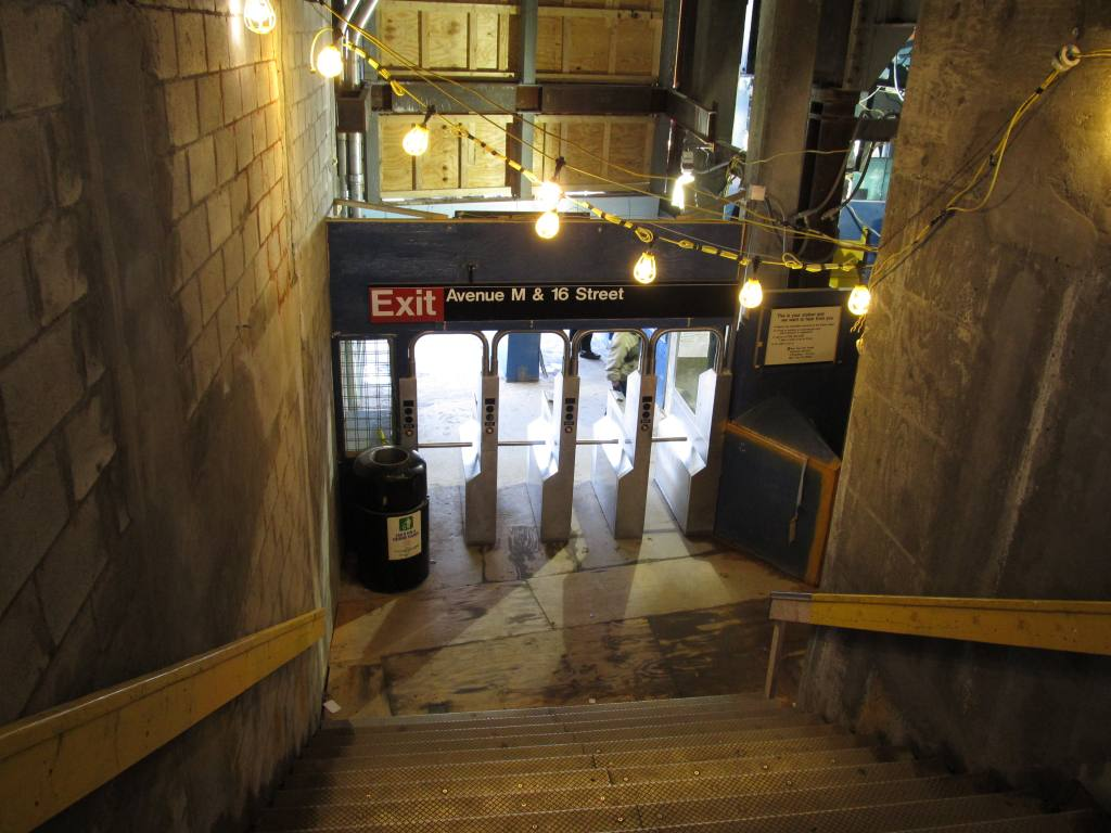 (107k, 1024x768)<br><b>Country:</b> United States<br><b>City:</b> New York<br><b>System:</b> New York City Transit<br><b>Line:</b> BMT Brighton Line<br><b>Location:</b> Avenue M <br><b>Photo by:</b> Robbie Rosenfeld<br><b>Date:</b> 3/24/2011<br><b>Notes:</b> Station renovations.<br><b>Viewed (this week/total):</b> 2 / 1101