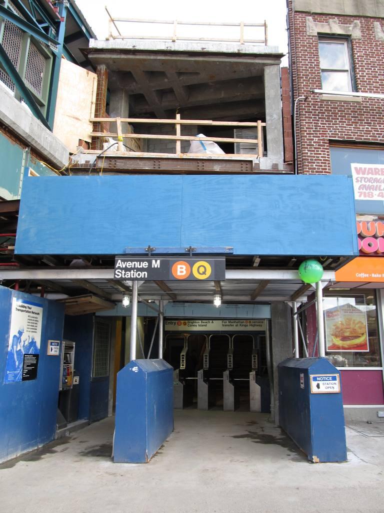 (126k, 768x1024)<br><b>Country:</b> United States<br><b>City:</b> New York<br><b>System:</b> New York City Transit<br><b>Line:</b> BMT Brighton Line<br><b>Location:</b> Avenue M <br><b>Photo by:</b> Robbie Rosenfeld<br><b>Date:</b> 3/24/2011<br><b>Notes:</b> Station renovations.<br><b>Viewed (this week/total):</b> 1 / 1124