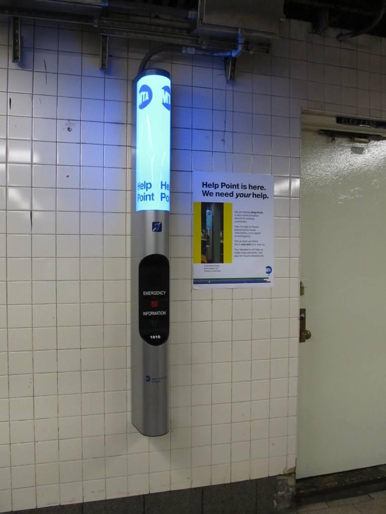 (67k, 768x1024)<br><b>Country:</b> United States<br><b>City:</b> New York<br><b>System:</b> New York City Transit<br><b>Line:</b> IRT East Side Line<br><b>Location:</b> Brooklyn Bridge/City Hall <br><b>Photo by:</b> Robbie Rosenfeld<br><b>Date:</b> 4/6/2011<br><b>Notes:</b> New customer assistance help point.<br><b>Viewed (this week/total):</b> 1 / 1514