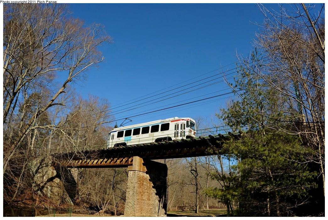 (291k, 1044x702)<br><b>Country:</b> United States<br><b>City:</b> Philadelphia, PA<br><b>System:</b> SEPTA (or Predecessor)<br><b>Line:</b> Rt. 101-Media<br><b>Location:</b> Crum Creek Bridge<br><b>Car:</b> SEPTA K Double-ended (Kawasaki, 1981) 123 <br><b>Photo by:</b> Richard Panse<br><b>Date:</b> 3/24/2011<br><b>Viewed (this week/total):</b> 1 / 781
