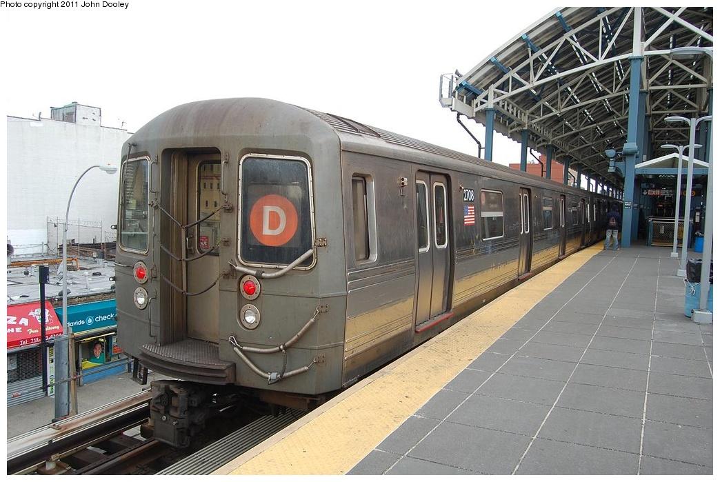 (311k, 1044x699)<br><b>Country:</b> United States<br><b>City:</b> New York<br><b>System:</b> New York City Transit<br><b>Location:</b> Coney Island/Stillwell Avenue<br><b>Route:</b> D<br><b>Car:</b> R-68 (Westinghouse-Amrail, 1986-1988)  2708 <br><b>Photo by:</b> John Dooley<br><b>Date:</b> 3/13/2011<br><b>Viewed (this week/total):</b> 0 / 919
