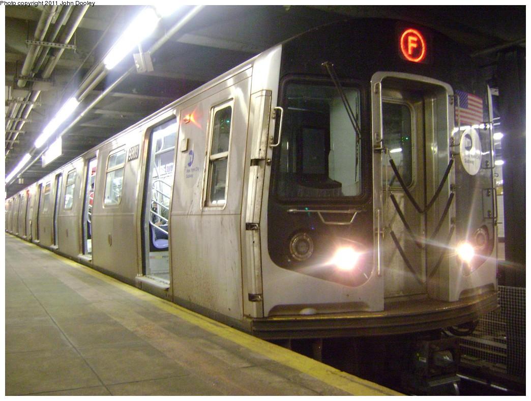 (227k, 1044x788)<br><b>Country:</b> United States<br><b>City:</b> New York<br><b>System:</b> New York City Transit<br><b>Line:</b> IND Crosstown Line<br><b>Location:</b> 7th Avenue/Park Slope <br><b>Route:</b> F<br><b>Car:</b> R-160A (Option 1) (Alstom, 2008-2009, 5 car sets)  9303 <br><b>Photo by:</b> John Dooley<br><b>Date:</b> 3/27/2011<br><b>Viewed (this week/total):</b> 0 / 1253