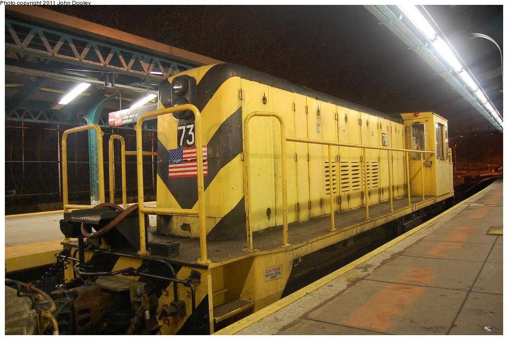 (223k, 1044x699)<br><b>Country:</b> United States<br><b>City:</b> New York<br><b>System:</b> New York City Transit<br><b>Line:</b> BMT West End Line<br><b>Location:</b> 9th Avenue <br><b>Route:</b> Work Service<br><b>Car:</b> R-52 Locomotive  73 <br><b>Photo by:</b> John Dooley<br><b>Date:</b> 2/28/2011<br><b>Viewed (this week/total):</b> 3 / 858