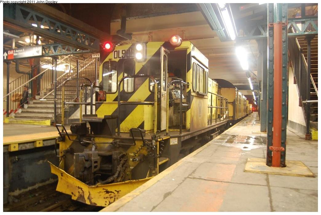 (224k, 1044x699)<br><b>Country:</b> United States<br><b>City:</b> New York<br><b>System:</b> New York City Transit<br><b>Line:</b> BMT West End Line<br><b>Location:</b> 9th Avenue <br><b>Route:</b> Work Service<br><b>Car:</b> R-120 Locomotive  906 <br><b>Photo by:</b> John Dooley<br><b>Date:</b> 2/28/2011<br><b>Viewed (this week/total):</b> 1 / 928