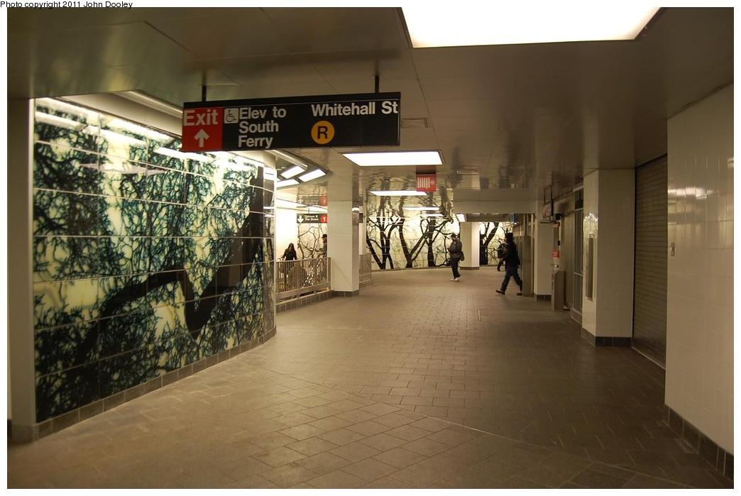 (196k, 1044x699)<br><b>Country:</b> United States<br><b>City:</b> New York<br><b>System:</b> New York City Transit<br><b>Line:</b> IRT West Side Line<br><b>Location:</b> South Ferry (New Station) <br><b>Photo by:</b> John Dooley<br><b>Date:</b> 12/14/2010<br><b>Artwork:</b> <i>See It Split, See It Change</i>,  Doug Starn/Mike Starn (2007).<br><b>Viewed (this week/total):</b> 6 / 1279