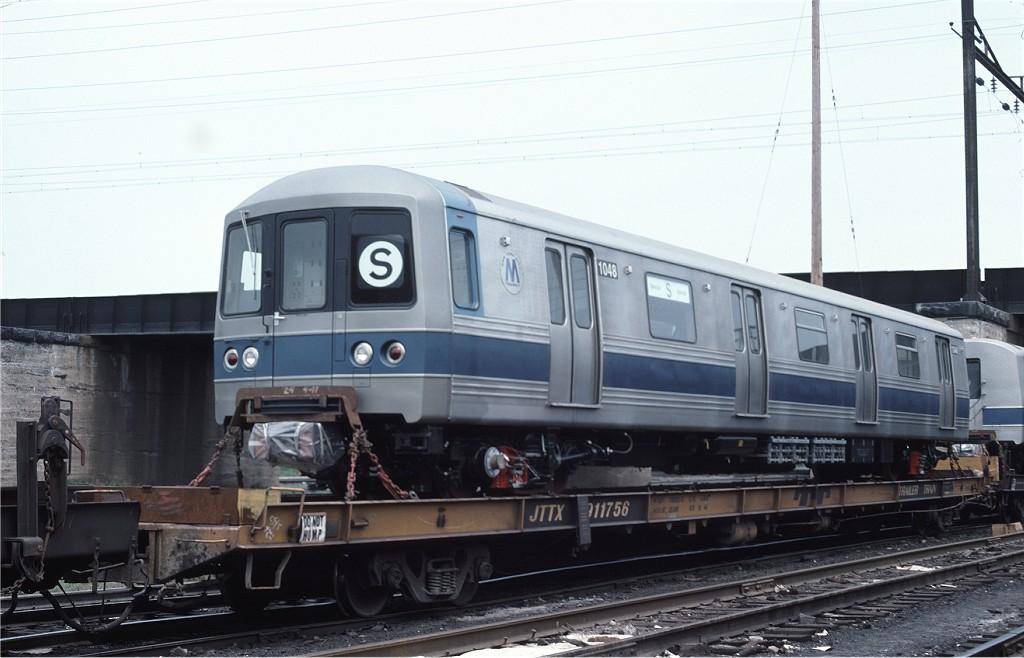 (152k, 1024x658)<br><b>Country:</b> United States<br><b>City:</b> Secaucus, NJ<br><b>System:</b> New York City Transit<br><b>Location:</b> Croxton Yard (NYCTA Equipment Delivery)<br><b>Car:</b> R-46 (Pullman-Standard, 1974-75) 1048 <br><b>Photo by:</b> Ed McKernan<br><b>Collection of:</b> Joe Testagrose<br><b>Date:</b> 6/5/1977<br><b>Viewed (this week/total):</b> 0 / 535