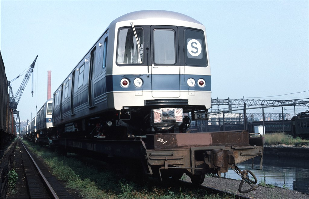 (160k, 1024x658)<br><b>Country:</b> United States<br><b>City:</b> Secaucus, NJ<br><b>System:</b> New York City Transit<br><b>Location:</b> Croxton Yard (NYCTA Equipment Delivery)<br><b>Car:</b> R-46 (Pullman-Standard, 1974-75) 1104 <br><b>Photo by:</b> Ed McKernan<br><b>Collection of:</b> Joe Testagrose<br><b>Date:</b> 8/5/1977<br><b>Viewed (this week/total):</b> 1 / 562