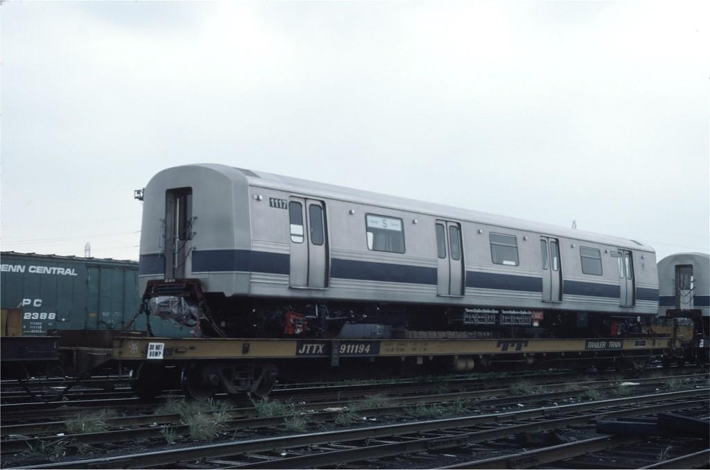 (116k, 1024x678)<br><b>Country:</b> United States<br><b>City:</b> Secaucus, NJ<br><b>System:</b> New York City Transit<br><b>Location:</b> Croxton Yard (NYCTA Equipment Delivery)<br><b>Car:</b> R-46 (Pullman-Standard, 1974-75) 1117 <br><b>Photo by:</b> Ed McKernan<br><b>Collection of:</b> Joe Testagrose<br><b>Date:</b> 8/10/1977<br><b>Viewed (this week/total):</b> 1 / 436