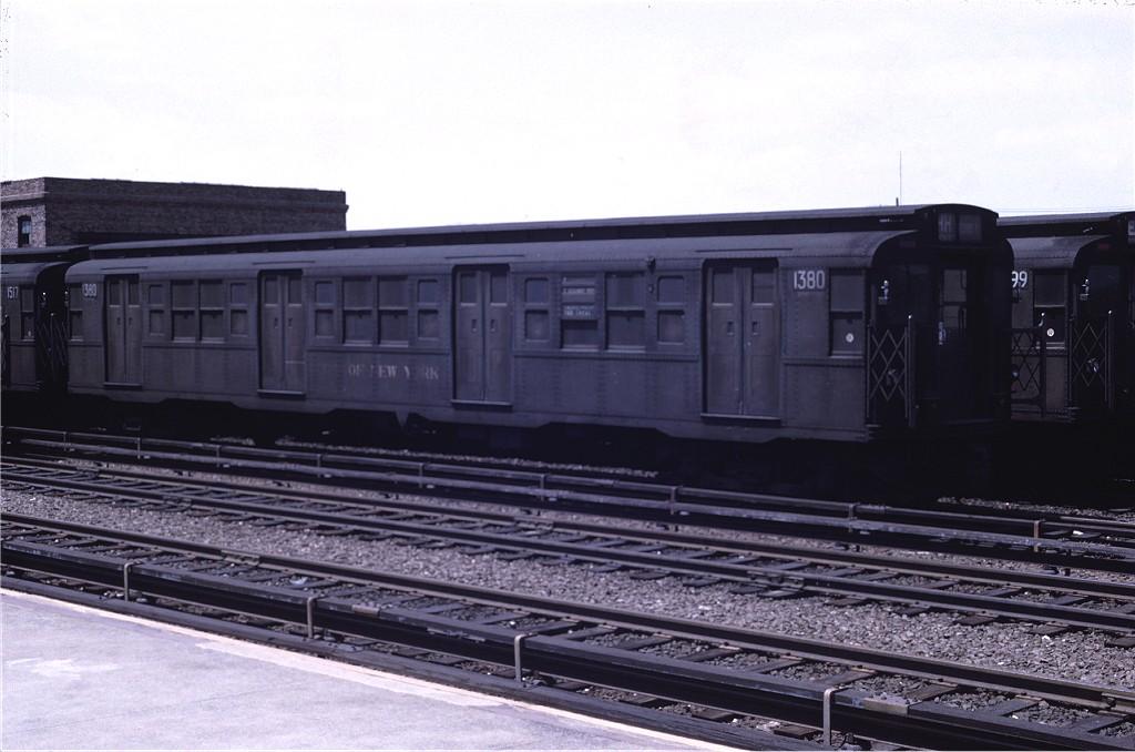 (155k, 1024x678)<br><b>Country:</b> United States<br><b>City:</b> New York<br><b>System:</b> New York City Transit<br><b>Location:</b> Rockaway Park Yard<br><b>Car:</b> R-6-1 (Pressed Steel, 1936)  1380 <br><b>Photo by:</b> Joe Testagrose<br><b>Date:</b> 5/18/1969<br><b>Viewed (this week/total):</b> 1 / 874