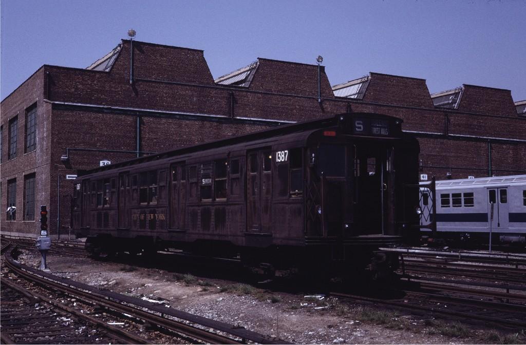 (195k, 1024x672)<br><b>Country:</b> United States<br><b>City:</b> New York<br><b>System:</b> New York City Transit<br><b>Location:</b> Coney Island Yard<br><b>Car:</b> R-6-1 (Pressed Steel, 1936)  1387 <br><b>Photo by:</b> Steve Zabel<br><b>Collection of:</b> Joe Testagrose<br><b>Date:</b> 5/18/1971<br><b>Viewed (this week/total):</b> 0 / 685
