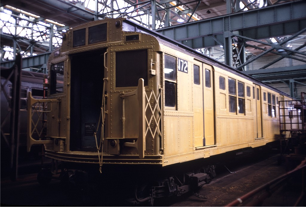 (173k, 1024x694)<br><b>Country:</b> United States<br><b>City:</b> New York<br><b>System:</b> New York City Transit<br><b>Location:</b> Coney Island Shop/Overhaul & Repair Shop<br><b>Car:</b> R-1 (American Car & Foundry, 1930-1931) 172 <br><b>Photo by:</b> Doug Grotjahn<br><b>Collection of:</b> Joe Testagrose<br><b>Date:</b> 10/6/1968<br><b>Viewed (this week/total):</b> 0 / 802
